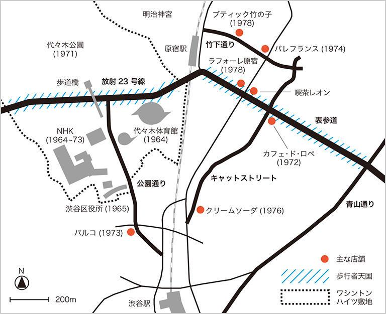 70年代後半から90年代中ごろまでの渋谷~原宿の回遊路(太田浩史さん作成)