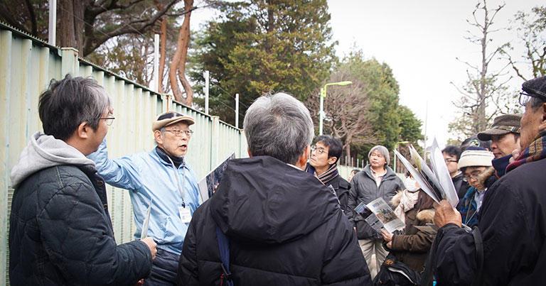 駒沢給水塔風景資産保存会の会長、澤一郎さんが説明してくれました。保存会は、「コマQ」という愛称で活動しています。