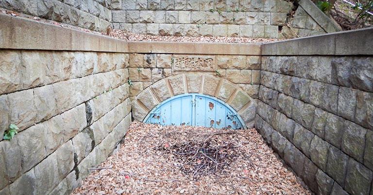 岡本隧道の入口。台地の反対側には同じような出口がある。