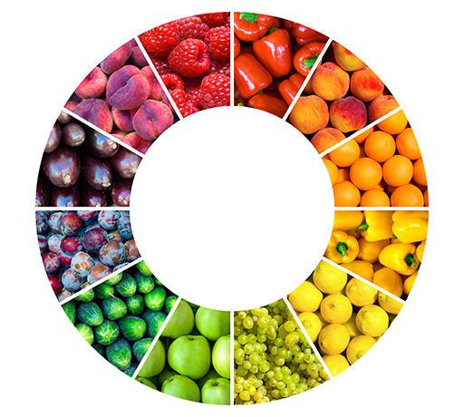 野菜と果物は7色のバランスをとる。
