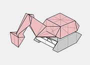 どなたにも作りやすい難易度のバックホー。上のボディ部分が箱型になっていて全体的にかわいい形です。