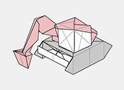 折り紙に少し慣れている方に挑戦してほしい難易度のバックホー。上のボディ部分に人が乗れるようなスペースとキャノピーを表現した、より精緻な形です。