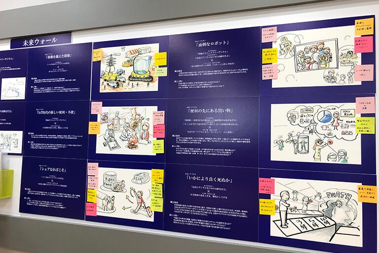 未来の世界が描かれている、パナソニックラボラトリー東京の「未来ウォール」