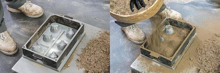 錫の製品は砂型で鋳造する