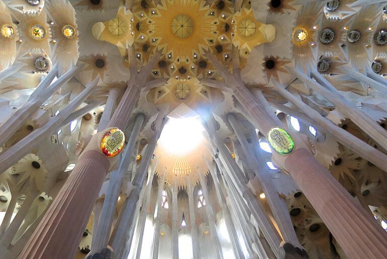 サグラダ・ファミリア大聖堂の内部。まるで森林の中にいるようだ
