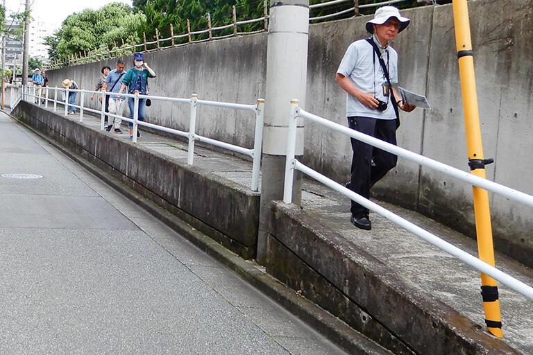 星薬科大学の敷地に沿った謎の高所暗渠。上部は歩道になっている
