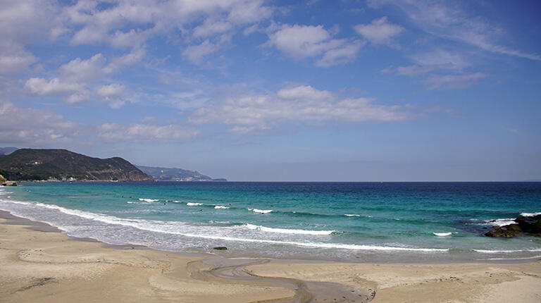 下田の海は白浜と透明度の高い海水が特徴(上)、サーフショップ「白浜マリーナ」(左下)、「白浜マリーナ」の店長、松井重貴さんに波の見方を教わる(右下 左が松井さん、右奥が編集部員Y)