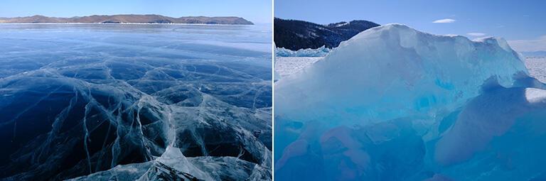 ツアーで行った春のバイカル湖。湖表に盛り上がる透き通った氷が空の青さに染まり美しい(撮影:武田康男)