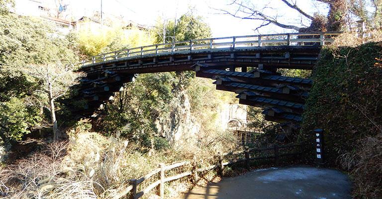猿橋の全景。橋詰(はしづめ、橋のたもと)に降りられるようになっている。横から見ると、桔木の様子がよく分かる