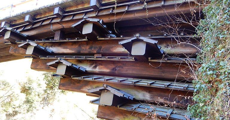 桔木に小さな屋根が付いているのは、木材が雨で腐らないようにするため。現在の橋は、1984年に、鉄骨の上に薄い木を貼った「鉄骨造木装」に改修されたもの