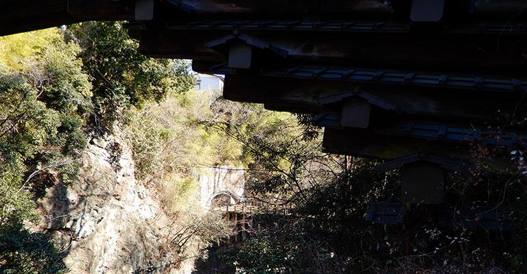 画面の右上側が猿橋のたもと。奥の明るいところにトンネルと橋のようなものが見える